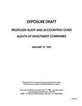 Proposed audit and accounting guide : audits of investment companies ;Audits of investment companies; Exposure draft (American Institute of Certified Public Accountants), 1985, Jan. 15