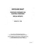 Proposed statement on auditing standards : special reports ;Special reports; Exposure draft (American Institute of Certified Public Accountants), 1988, Aug. 31