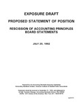 Proposed statement of position : Rescission of Accounting Principles Board statements ;Rescission of Accounting Principles Board statements; Exposure draft (American Institute of Certified Public Accountants), 1992, Jul. 20