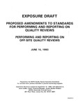 Proposed amendments to standards for performing and reporting on quality reviews : performing and reporting on off-site quality reviews;Performing and reporting on off-site quality reviews