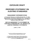 Proposed Statement on auditing standards : Management representations (to supersede Statement on auditing standards no. 19, Client representations, and Auditing interpretation no. 2