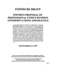 Omnibus proposal of Professional Ethics Division interpretations and rulings