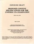Proposed Content Specifications for the Uniform CPA Examination (Effective May 1996); Exposure Draft (American Institute of Certified Public Accountants) 1993, May 25