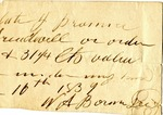 Promissory Note (fragment), 16 [?] 1839 by W. A. Borm