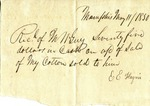 Cotton receipt, 11 May 1850 by Elizabeth Haney