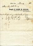 Receipt, May 1850 by John H. Bills
