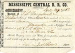 Cotton receipt, 29 December 1860 by Mississippi Central Railroad Company (1897-1967) and F. Lane and Company