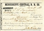 Cotton receipt, 11 December 1860 by Mississippi Central Railroad Company (1897-1967) and F. Lane and Company