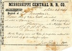 Cotton receipt, 24 November 1860 by Mississippi Central Railroad Company (1897-1967) and F. Lane and Company