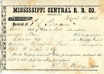Cotton receipt, 25 March 1860 by Mississippi Central Railroad Company (1897-1967) and F. Lane and Company