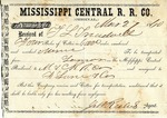 Cotton receipt, 27 March 1860 by Mississippi Central Railroad Company (1897-1967) and F. Lane and Company