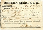 Cotton receipt, 22 January 1869 by Mississippi Central Railroad Company (1897-1967)