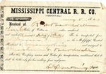 Cotton receipt, 8 May 1869 by Mississippi Central Railroad Company (1897-1967)