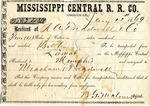 Cotton receipt, 11 January 1869 by Mississippi Central Railroad Company (1897-1967)