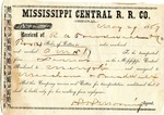 Cotton receipt, 27 May 1869 by Mississippi Central Railroad Company (1897-1967)