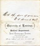 Program for Commencement Exercises, University of Louisiana, 17 March 1876 by Frederick Robert Bernard (1850-1922)