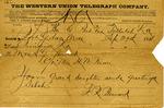 Telegram from Frederick R. Bernard to Sarah G. Bernard, 29 September 1886 by Frederick Robert Bernard (1850-1922)
