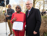 Linnie Willis receives her diploma from Provost Noel Wilkin, February 24, 2020 by Linnie Liggins Willis