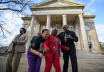 Kenneth Mayfield, Theron Evans, Jr., Henrieese Roberts, Linnie Willis, and Donald Cole in front of Fulton Chapel, February 24, 2020 by Kenneth Mayfield, Theron Evans Jr., Henrieese Roberts, Linnie Liggins Willis, and Donald Cole