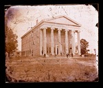 Lyceum Building, students fighting on the side, old Stewart's Hall in the background by Edward C. Boynton