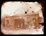 Carriage House, exterior, girl, woman, and woman with carriage posed outside by Edward C. Boynton