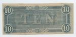 10 dollar bill, Confederate States of America, verso by Confederate States of America