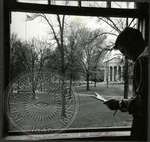 Student looks out over the Circle by J. R. Cofield