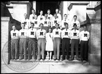 Group portrait of students in letter sweaters by J. R. Cofield