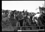 Women in the bleachers watching a football game by J. R. Cofield