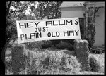 Bales of straw with a banner reading: Hey alums, just plain old hay by J. R. Cofield