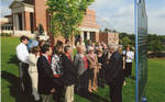 Chancellor Robert Khayat addresses the crowd at the dedication of the 2008 Presidential debate plaque in front of the Ford Center at the University of Mississippi, image 005 by Author Unknown