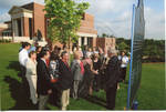 Chancellor Robert Khayat addressing the crowd at the dedication of the 2008 Presidential debate plaque in front of the Ford Center at the University of Mississippi, image 001 by Author Unknown