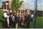 Chancellor Robert Khayat addressing the crowd at the dedication of the 2008 Presidential debate plaque in front of the Ford Center at the University of Mississippi, image 002 by Author Unknown