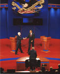 Barack Obama and John McCain shaking hands on stage at the Ford Center with moderator Jim Lehrer standing behind desk at the 2008 Presidential debate at the University of Mississippi; 4 copies by Author Unknown