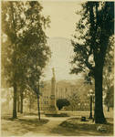 Confederate statue and Science Hall with small portions of the powerhouse and Gordon Hall from inside The Circle by Author Unknown