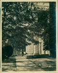 The front porch of The Lyceum and the corner of The Old Chemistry Building by Author Unknown