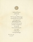 Invitation to inauguration of University of Mississippi Chancellor A. B. Butts by University of Mississippi. Chancellor