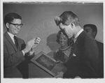 Robert F. Kennedy receiving award by Russell H. Barrett