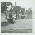 Students blocking a road by W. Wert (William Wert) Cooper