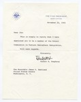 Vice President Hubert H. Humphrey to Senator James O. Eastland, 22 November 1965 by Hubert H. (Hubert Horatio) Humphrey (1911-1978)