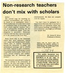 Non-research teachers don't mix with scholars by James W. Silver