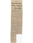 Barnett Says Delay Degree To Meredith by Charles M. Hills