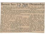 Barnett Says U.S. Near Dictatorship by Associated Press
