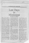 Last Days in Mississippi by Sean O'Croimin