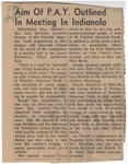 Aim Of P.A.Y. Outlined In Meeting In Indianola by Author Unknown