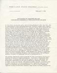Statement of President Millar Concerning Speakers at Portland State College by Branford P. Millar