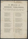 In Memoriam of George Tomlinson; Who was accidentally killed whilst in the execution of his duty at Kentish Town Sidings, October 19th,1885