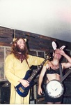 Bass in bear suit, banjo with bunny ears by Kudzu Kings (Musical Group)
