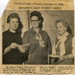Clipping from Oxford Eagle with picture of three League of Women Voters members by Author Unknown