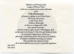 Invitation to celebrate 75th anniversary of women's suffrage by Author Unknown